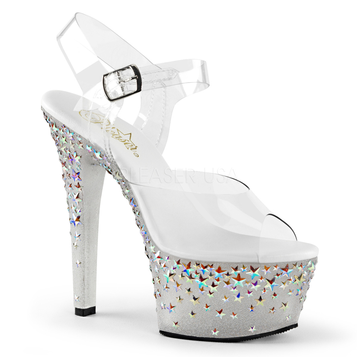 6 Inch Stiletto Heel Hologram Stars Platform Sandals - Click Image to Close