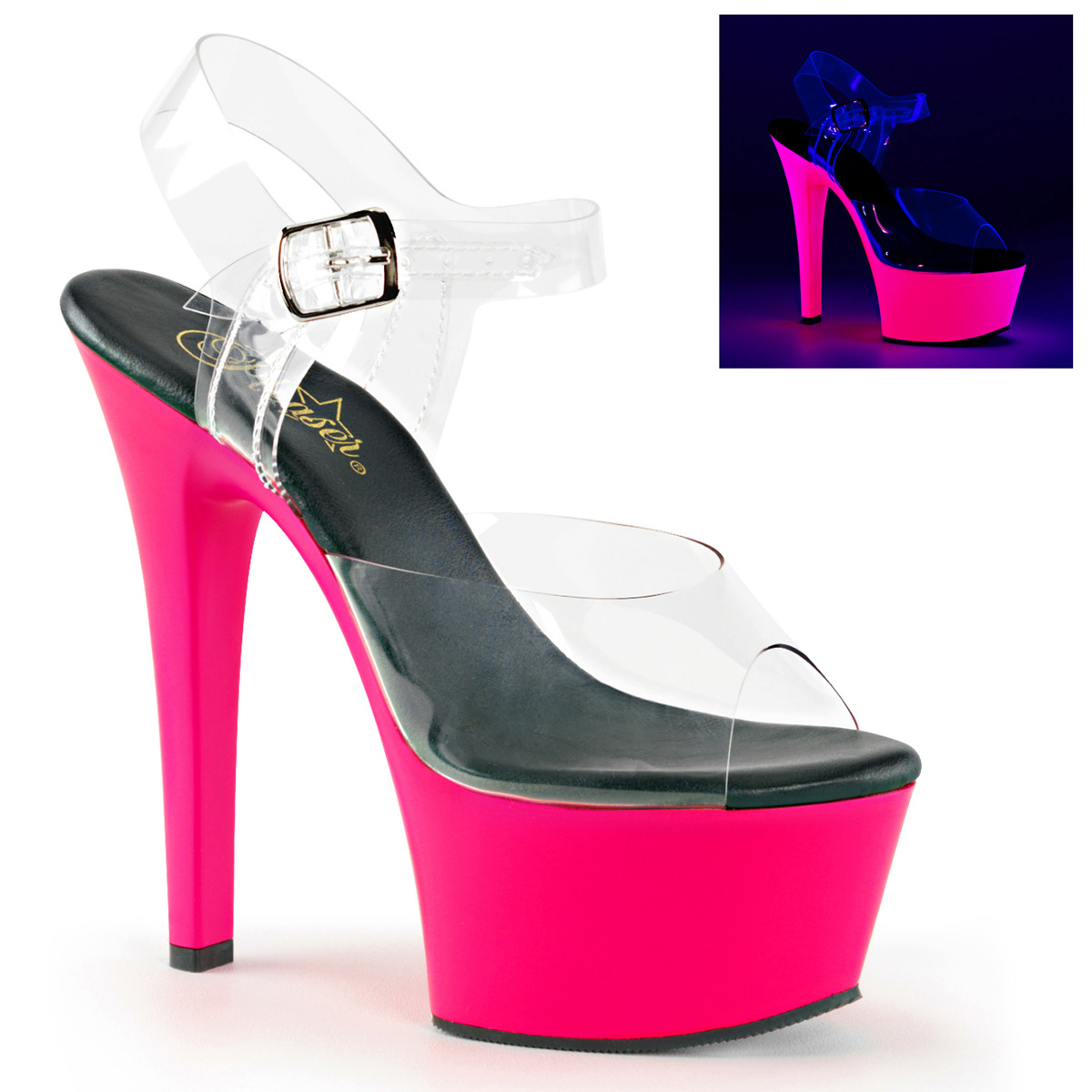 6 Inch Stiletto Heel Neon Reactive Platform Sandals
