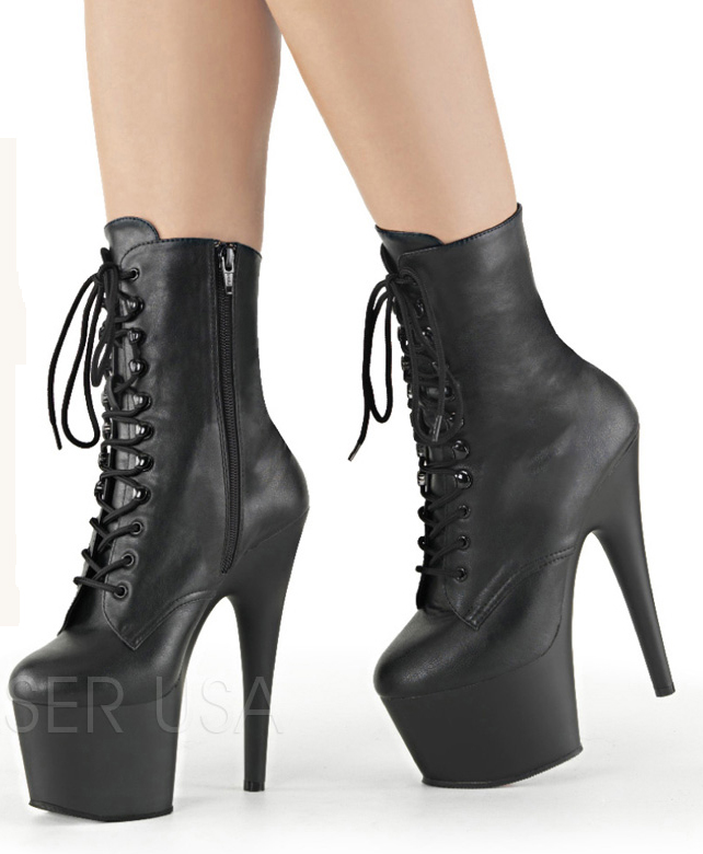 7 Inch Stiletto Heel Lace Up Platform Ankle Boots