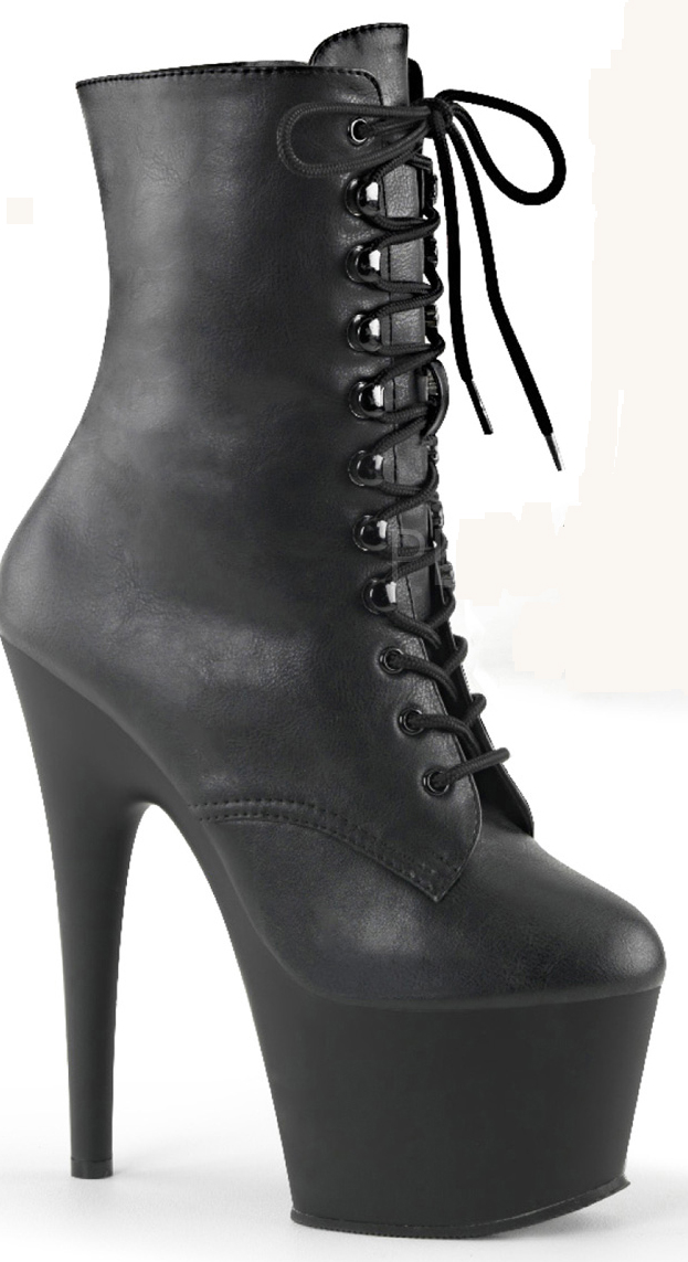 7 Inch Stiletto Heel Lace Up Platform Ankle Boots - Click Image to Close
