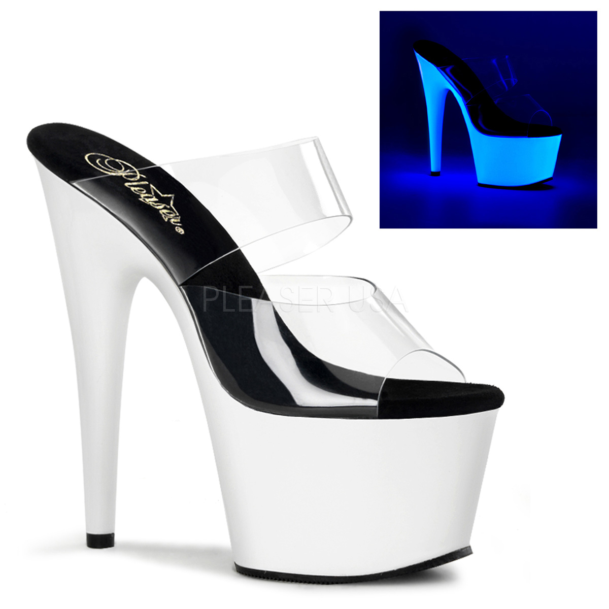 7 Inch Stiletto Heel Neon Platform Two Band Slide