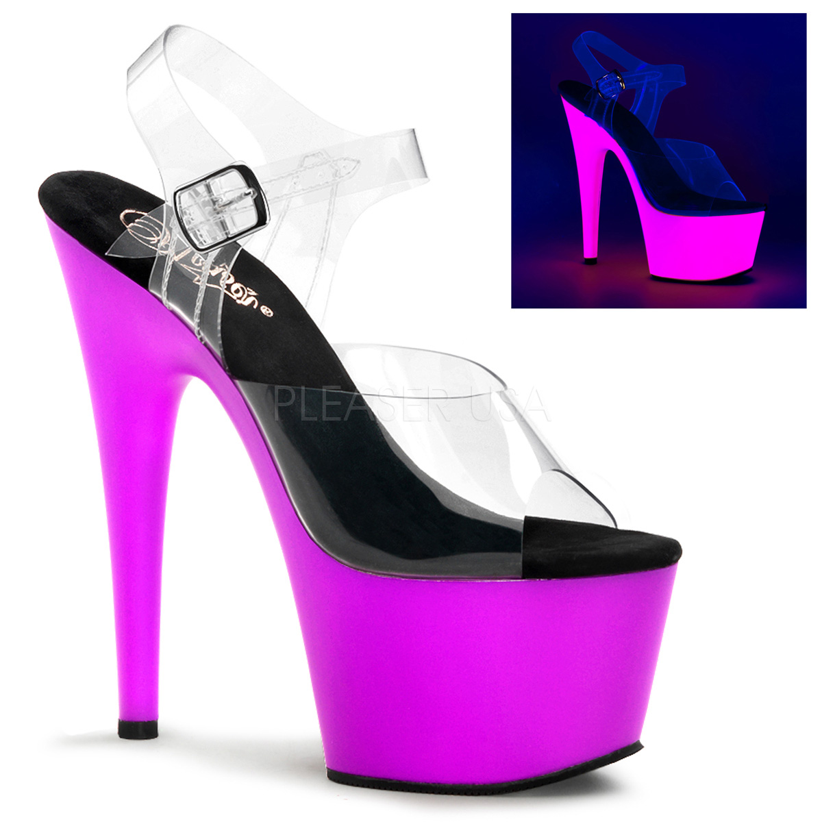 7 Inch Stiletto Heel Neon Platform Ankle Strap Sandals - Click Image to Close