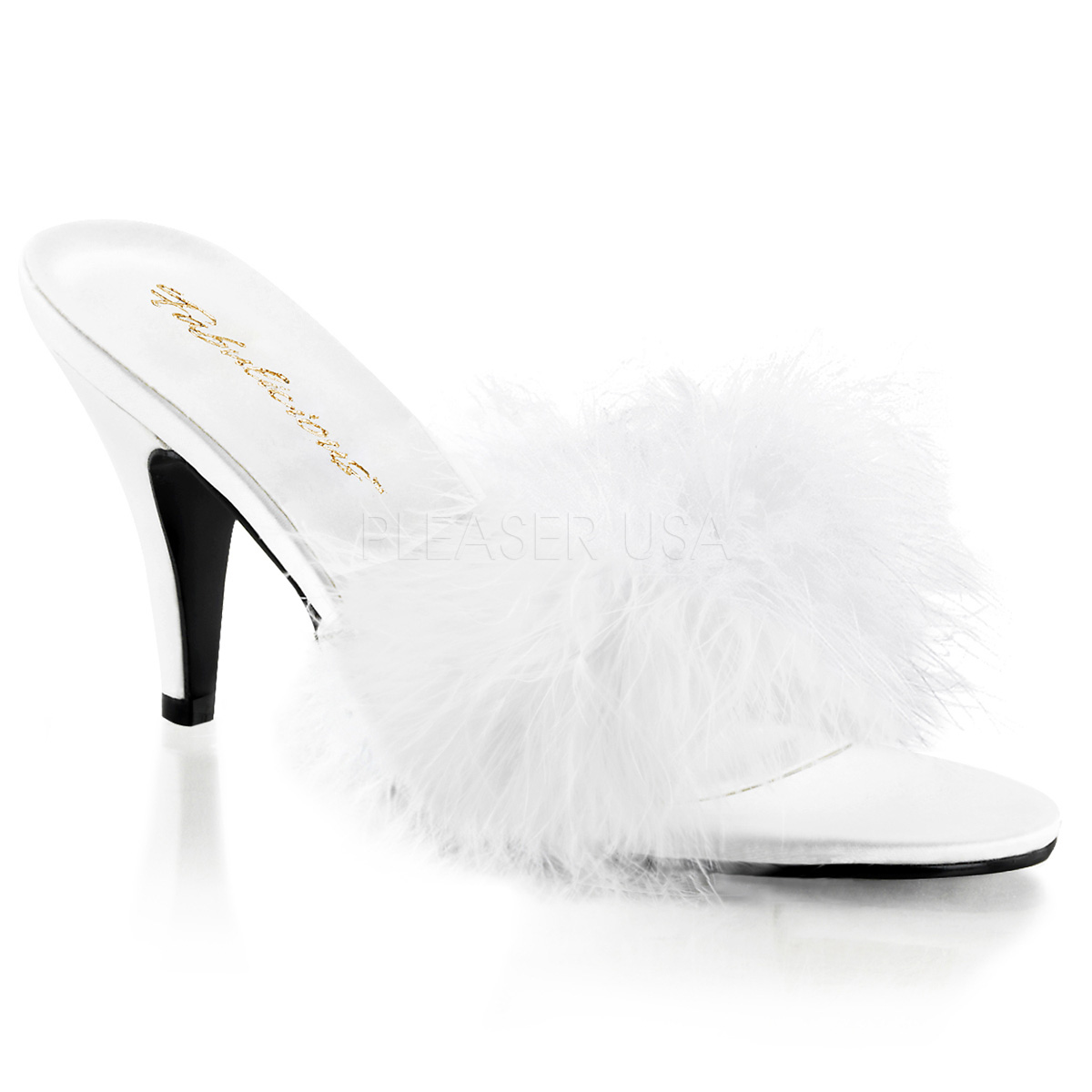 3 Inch Heel Marabou Slippers - Click Image to Close