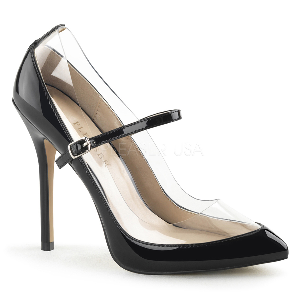 5 Inch Stiletto Heel Transparent Mary Jane Pump