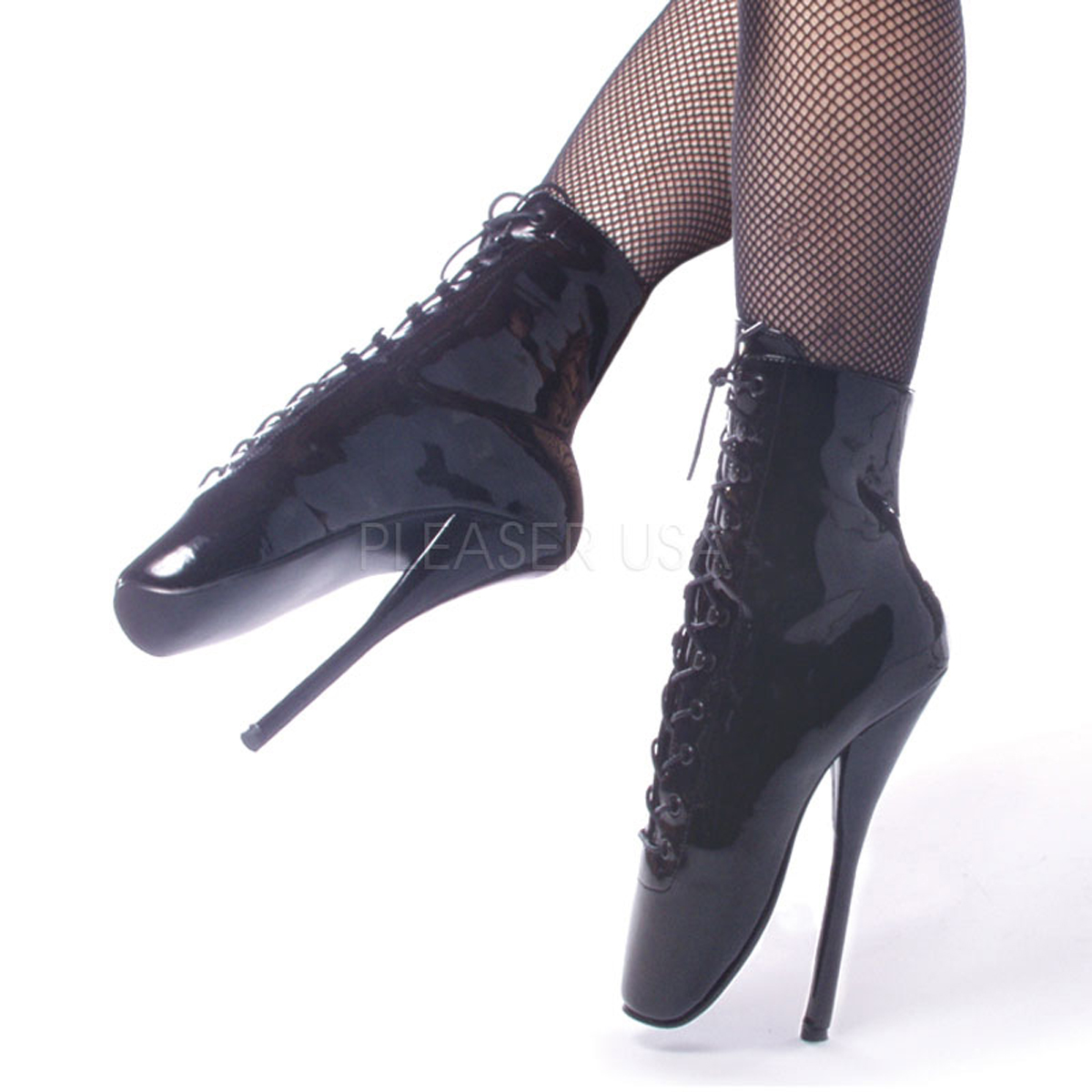 7 Inch Stiletto Heel Lace Up Ankle Boot