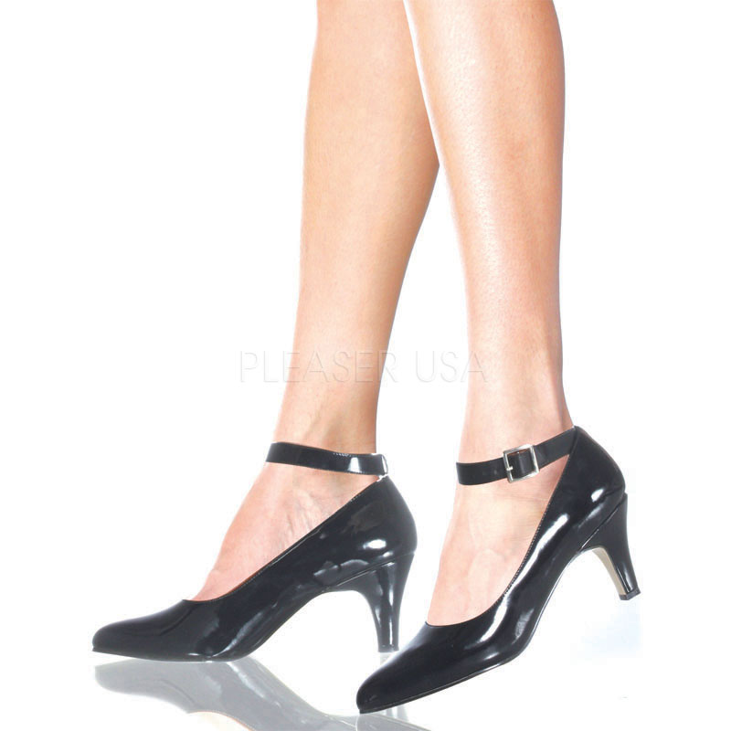 3 Inch Block Heel Pump w/ Ankle Strap - Click Image to Close