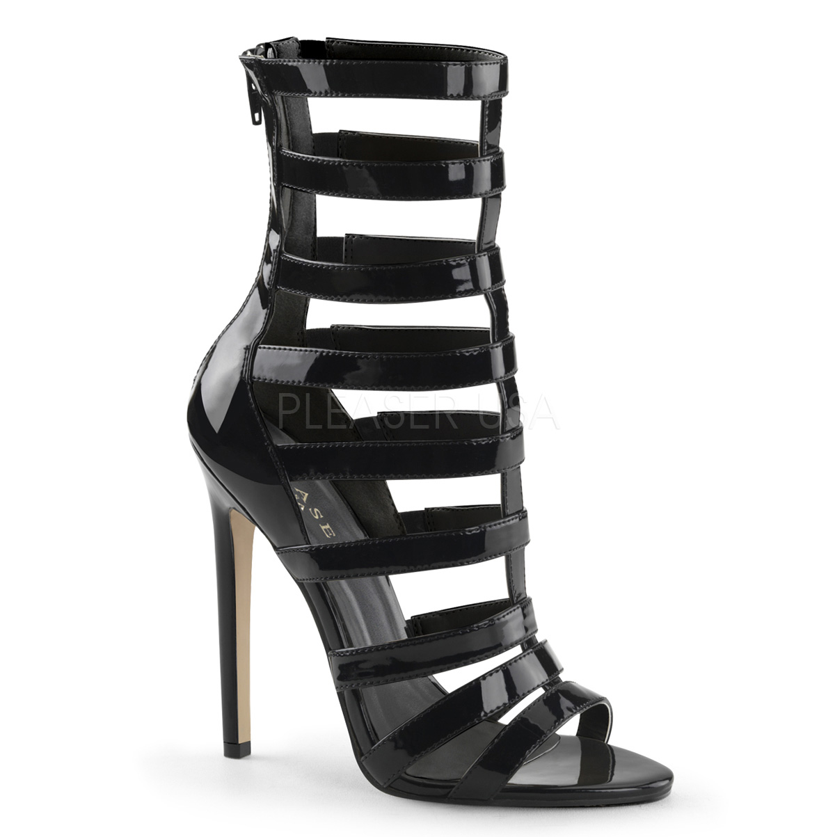 5 Inch Stiletto Heel Closed Back Strappy Cage Sandal