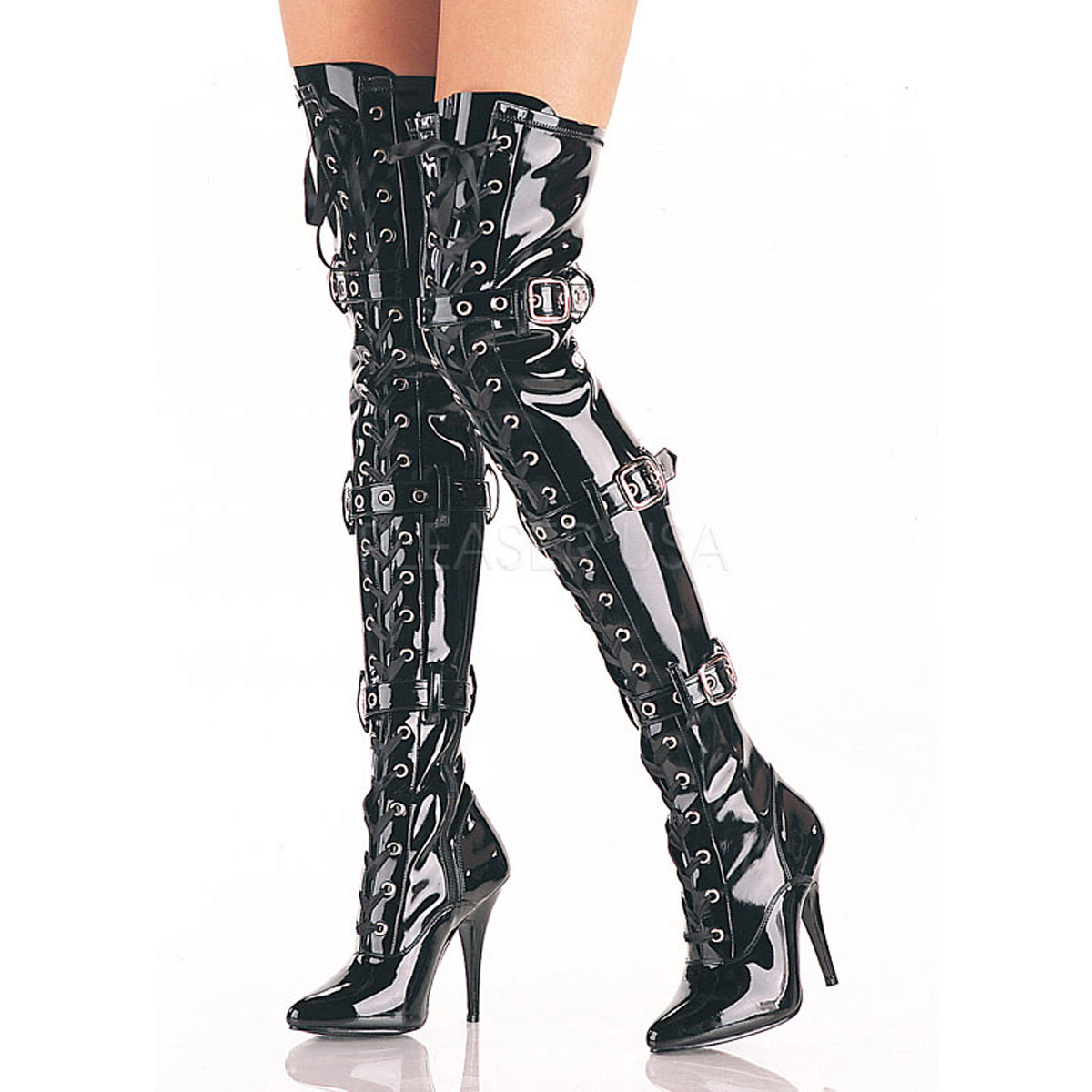 5 Inch Stiletto Heel Lace-Up Stretch Thigh High Boots w/Buckles
